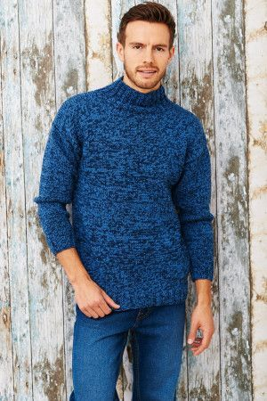 Turtleneck knitted sweater for a man with long sleeves in denim blue