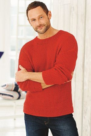 Textured knitted jumper for a man with long sleeves