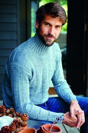Knitted roll neck jumper for men with cables and grid effect