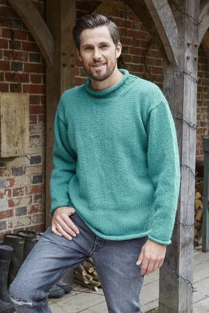 Mens Rollneck Sweater Knitting Pattern