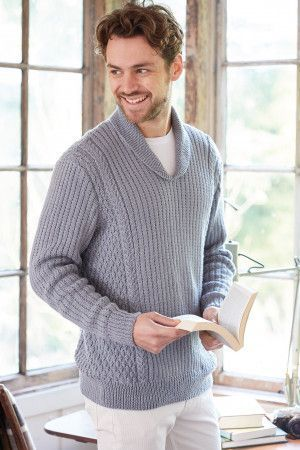 Retro shawl collar retro cable knit sweater for men with long sleeves