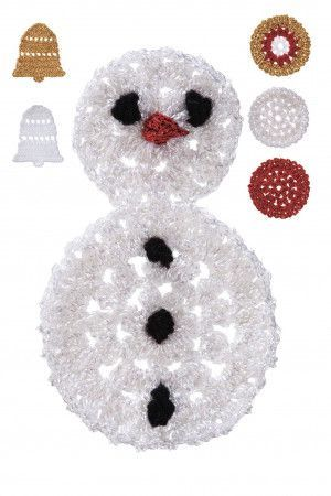Crocheted Christmas decorations for snowman, baubles and bells