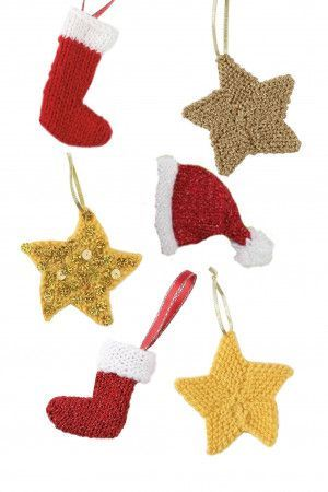 Small knitted star, hat and stocking Christmas decorations