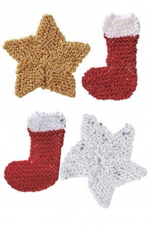 Knitted Christmas decorations for star and stocking