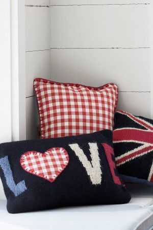 Three knitted cushions - Union Jack, gingham check and LOVE motif