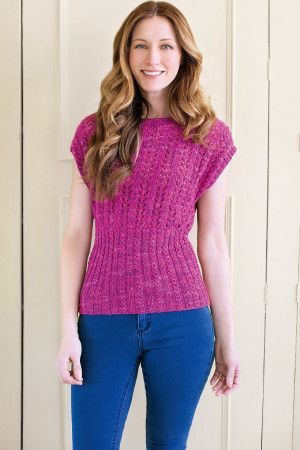 Knitted mock cable fitted women's top