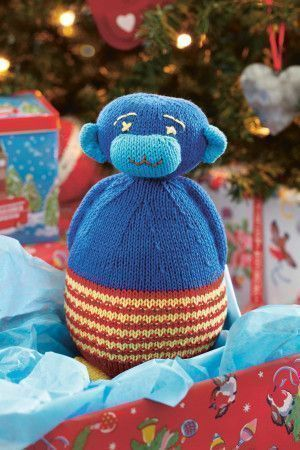Colourful knitted toy monkey