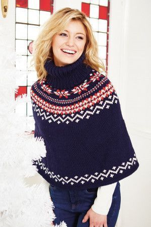 Scandi-inspired knitted cape for women