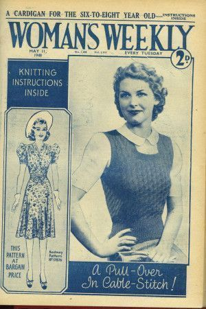 Cover of 1940s Woman's Weekly featuring retro women's cable knit top with no sleeves