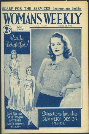 Cover of 1940s Woman's Weekly featuring retro knitted women's short-sleeved jumper