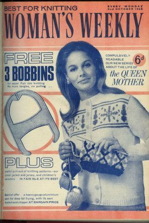 Cover of 1960s Woman's Weekly featuring retro womens knitted jacket with Fair Isle pattern