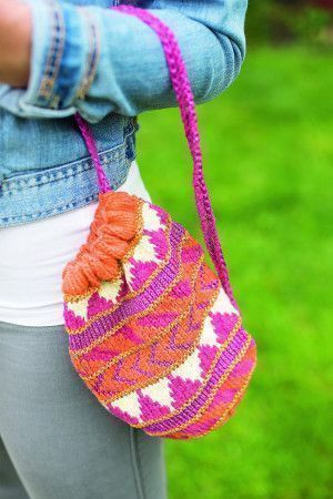 Colourful patterned circular bag with drawstring