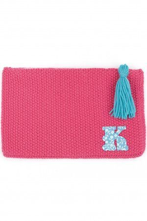 Knitted retro bag with tassel and personalised letter added