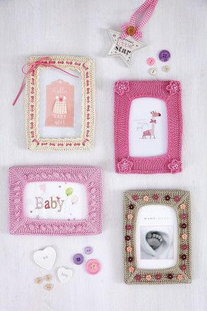 Four different knitted photo frames with varied embellishments