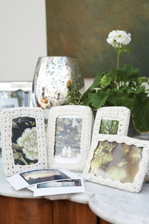 Four crochet frames for cherished pictures