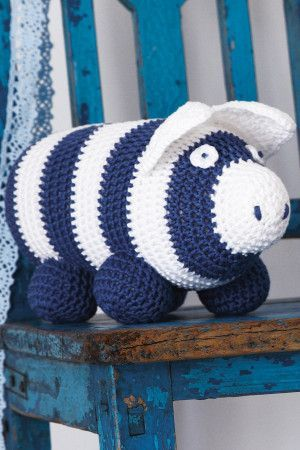 Crocheted stripy piggy bank