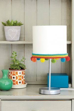 Rainbow knitted trim with pom-poms for lampshade