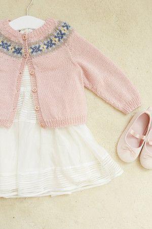 Pink knitted girl's cardigan with Fair Isle yoke