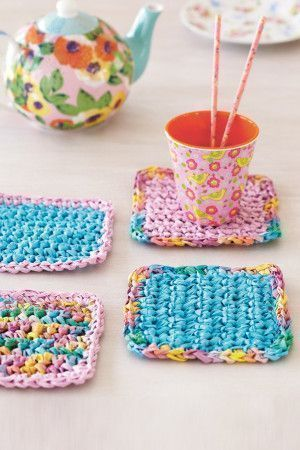 Crocheted rainbow coasters