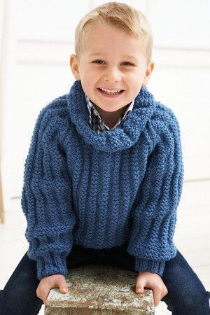 Loose roll necked knitted sweater for boys with full cuffed sleeves