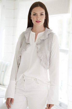 ladies knitted gilet bolero with ruffles