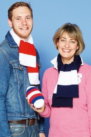 Knitted broad striped rugby scarves and rugby ball toy knit