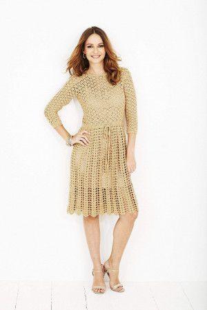 gold vintage style tie waist dress crochet pattern
