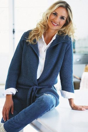 Loose knitted jacket with belt for women in inky blue