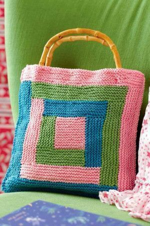 Square Motif Bag With Bamboo Handles Knitting Pattern
