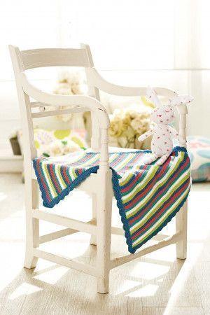 Striped crochet baby blanket with fan stitch