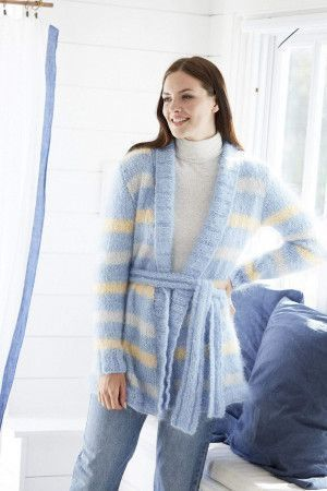 Mohair knitted ladies cardigan in stripes with belt
