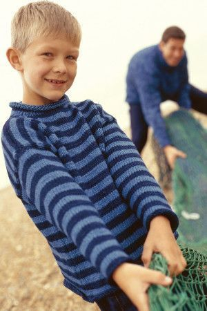 Turtleneck knitted sweater for a boy with stripes in shades of blue