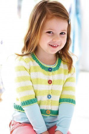 Knitted stripe short cardigan for a girl with contrast trim
