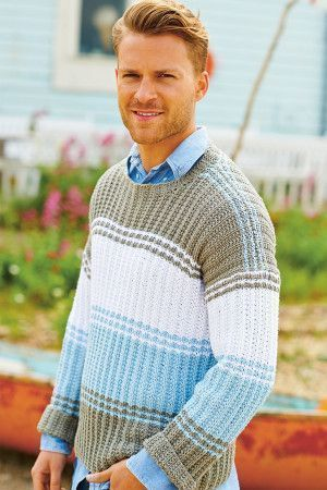 Knitted striped chambray men's sweater