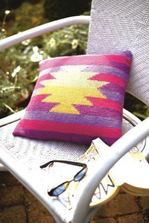 Kilim-style knitted cushion cover with bold design