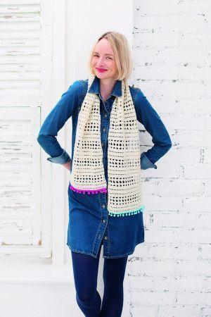 Striped Scarf With PomPom Trim Crochet Pattern