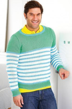 Fresh stripy knitted jumper for men in gorgeous soft green and pale blue