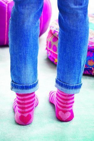 Striped knitted ladies' socks with heart motif on heel