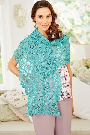 Ladies' pretty turquoise crocheted wrap in open lace design