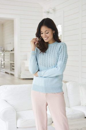 Ladies lace yoke jumper with raglan sleeves knitting pattern