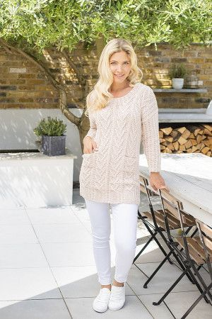 Ladies knitted round neck tunic in cream with detailed aran design patterning