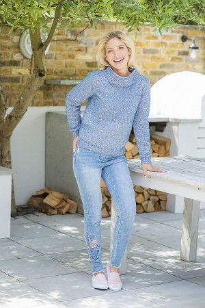 ladies knitted jumper in blue with a moss stitch cowl collar