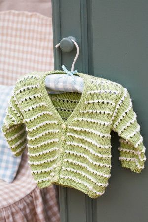 Retro knitted baby cardigan with textured contrasting horizontal stripes