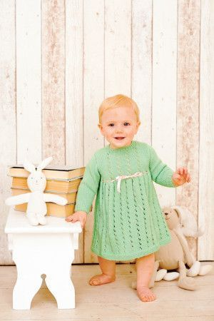 Retro lace knitted dress for baby girl with ribbon drawstring