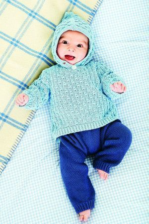 Vintage knitted baby jumper and trousers set