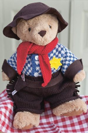 Knitted vintage cowboy teddy bear outfit