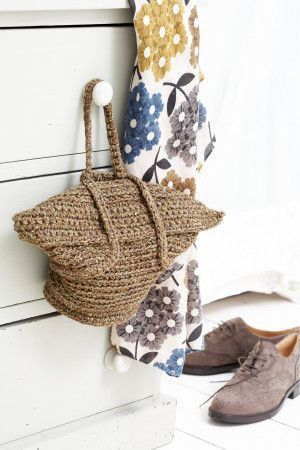 Crochet handbag with foldover fastening in vintage style