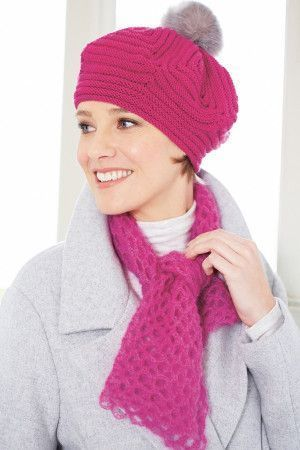 Retro 1950s ladies' knitted pink beret hat with pom-pom and co-ordinating crocheted scarf
