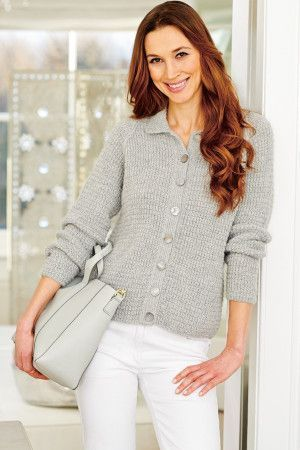 Retro buttoned cardigan for women knitted in grey yarn