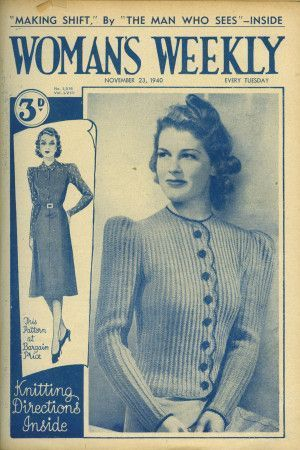 Cover of 1940s Woman's Weekly featuring retro womens cardigan with buttons and scallop trim